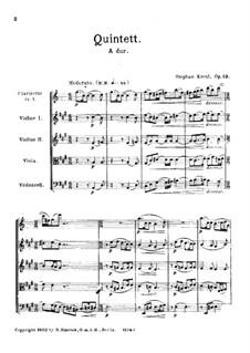 Квинтет для кларнета и струнных, Op.19: Партитура by Штефан Крель