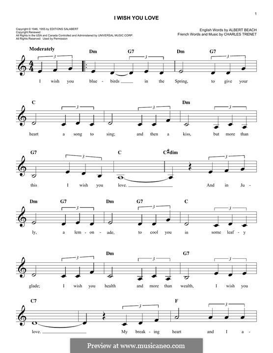 I Wish You Love: Мелодия by Charles Trenet