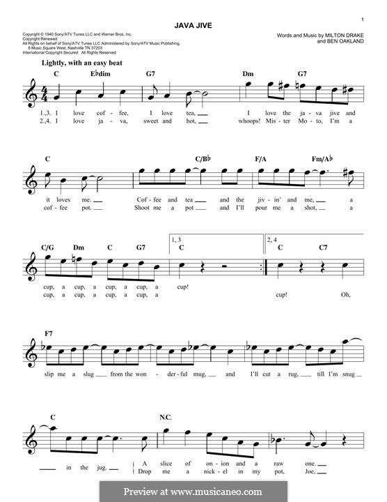 Java Jive (The Ink Spots): Мелодия by Ben Oakland, Milton Drake