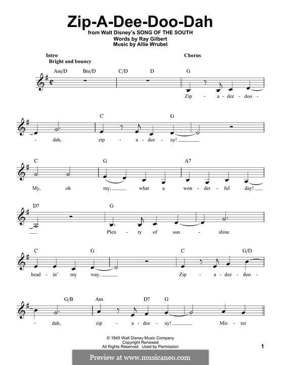Zip-A-Dee-Doo-Dah: Мелодия by Allie Wrubel