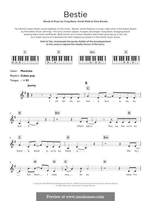 Bestie (Yungen): Для клавишного инструмента by Amish Patel, Clive Brooks, Yxng Bane
