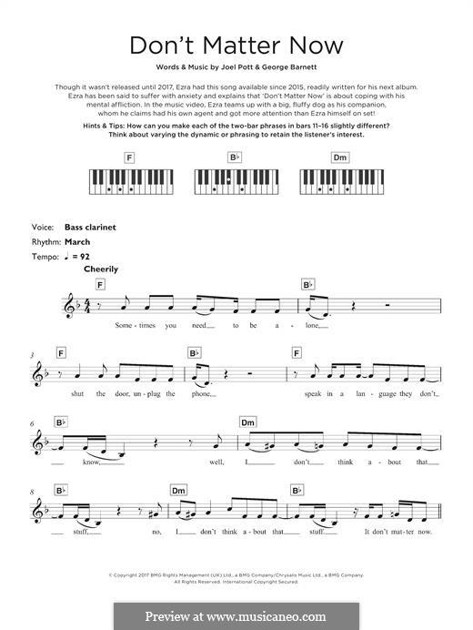 Don't Matter Now: Для клавишного инструмента by Joel Pott, George Ezra Barnett