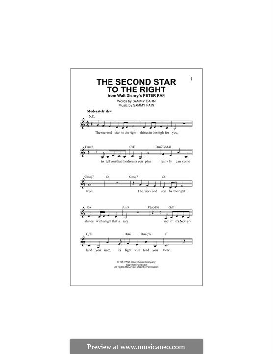 The Second Star to the Right (from Peter Pan): Мелодия by Sammy Fain