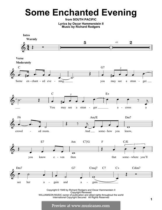 Some Enchanted Evening (from South Pacific): Мелодия by Richard Rodgers