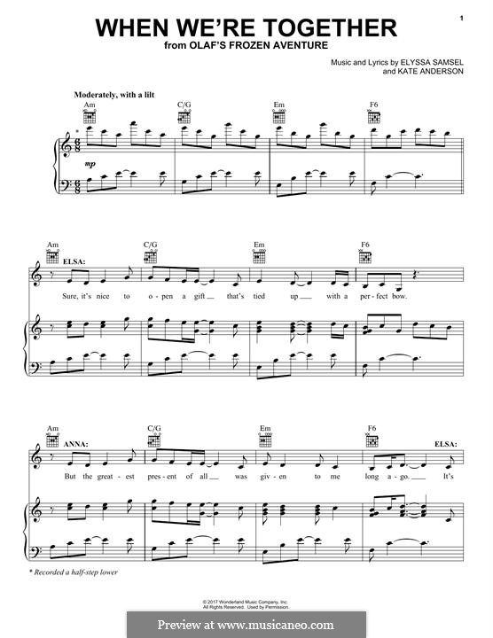 When We're Together: Для голоса и фортепиано (или гитары) by Kate Anderson, Elyssa Samsel