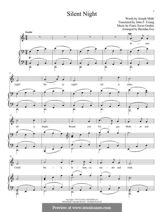 Тихая ночь, дивная ночь, для двух инструментов: Для голоса и фортепиано by Франц Ксавьер Грубер