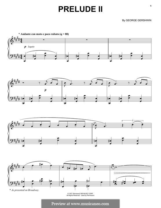 Три прелюдии для фортепиано: Prelude No.2 in C Sharp Minor by Джордж Гершвин