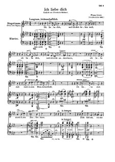 Тебя люблю, S.315: Немецкий текст by Франц Лист