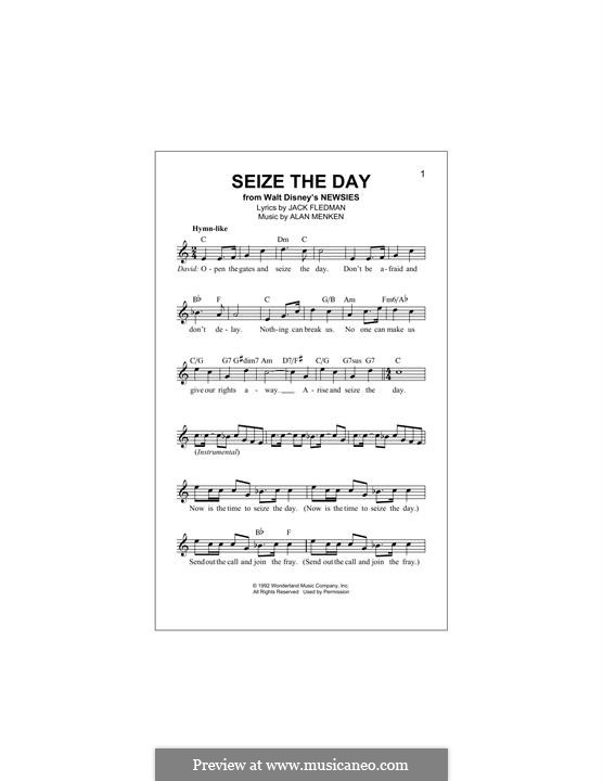 Seize the Day (from Newsies): Мелодия by Alan Menken