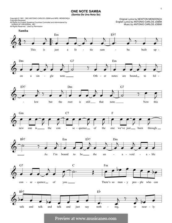 One Note Samba (Samba De Uma Nota): Мелодия by Antonio Carlos Jobim