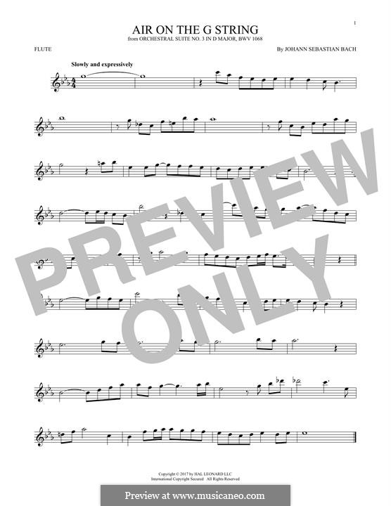 Aria (Printable Scores): Version for flute by Иоганн Себастьян Бах