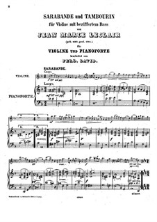 Соната для скрипки и бассо континуо No.3, Op.9: Сарабанда и тамбурин – партитура by Жан-Мари Леклер