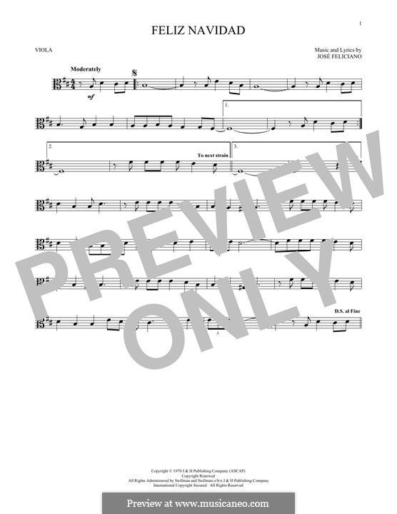 Feliz Navidad: For viola by José Feliciano