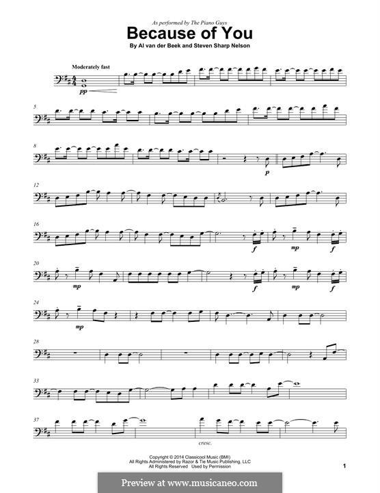 Because of You (The Piano Guys): Для виолончели by Al van der Beek, Steven Sharp Nelson