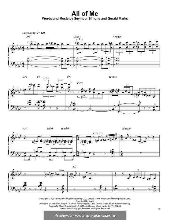 All of Me: For piano (Oscar Peterson) by Seymour Simons, Gerald Marks