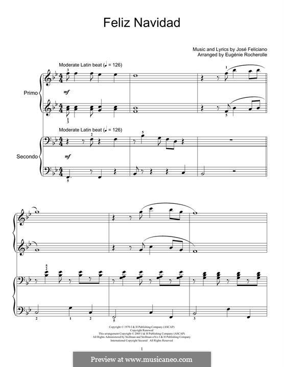 Feliz Navidad: Для фортепиано в 4 руки by José Feliciano