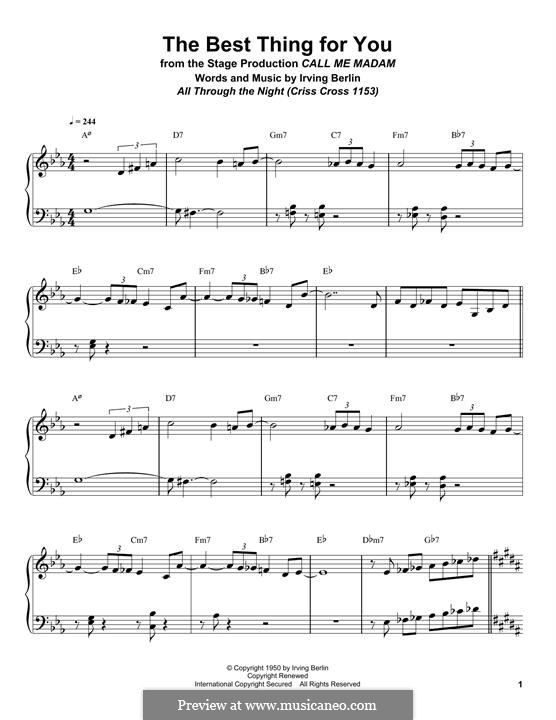 The Best Thing for You: For piano (Bill Charlap) by Ирвинг Берлин