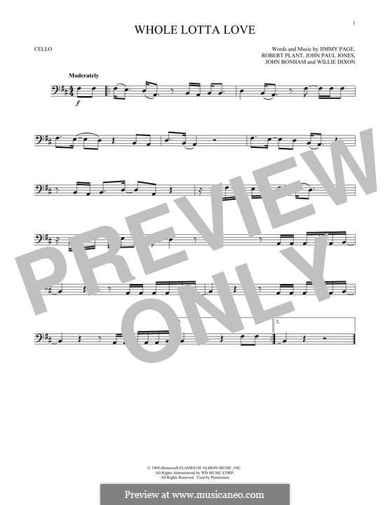 Whole Lotta Love (Led Zeppelin): Для виолончели by John Paul Jones, Jimmy Page, John Bonham, Robert Plant