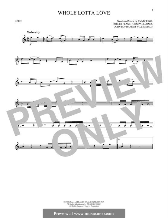 Whole Lotta Love (Led Zeppelin): For horn by John Paul Jones, Jimmy Page, John Bonham, Robert Plant
