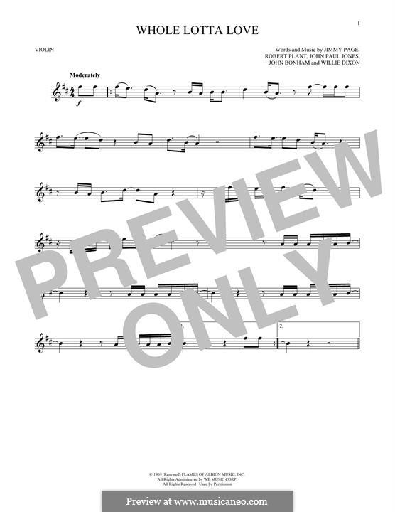 Whole Lotta Love (Led Zeppelin): Для скрипки by John Paul Jones, Jimmy Page, John Bonham, Robert Plant