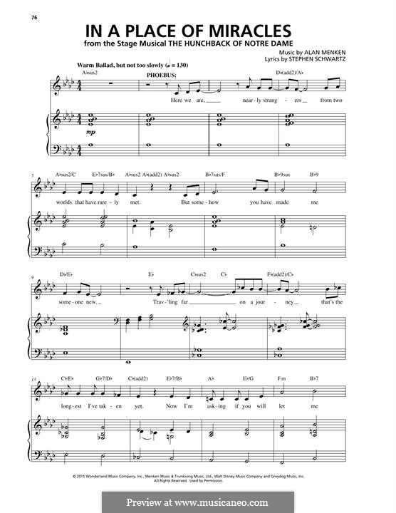 In a Place of Miracles: Для голоса и фортепиано by Alan Menken