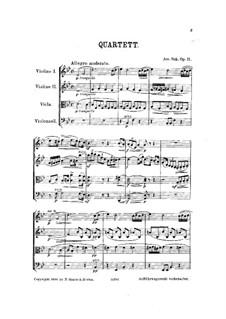 Квартет для струнных инструментов No.1 си-бемоль мажор, Op.11: Партитура by Йосеф Сук