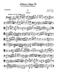 Четыре пьесы для виолончели и фортепиано, Op.70: Сольная партия by Макс Брух