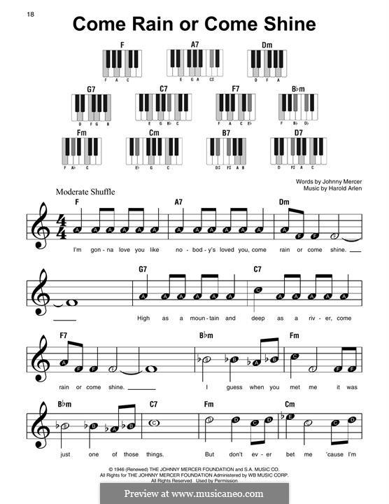 Come Rain or Come Shine: Для фортепиано by Harold Arlen