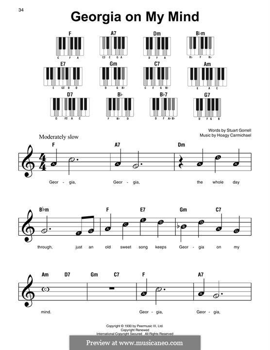 Georgia on My Mind, for Piano: Для одного исполнителя by Hoagy Carmichael