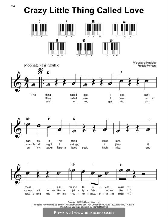 Crazy Little Thing Called Love (Queen): Для фортепиано (легкий уровень) by Freddie Mercury