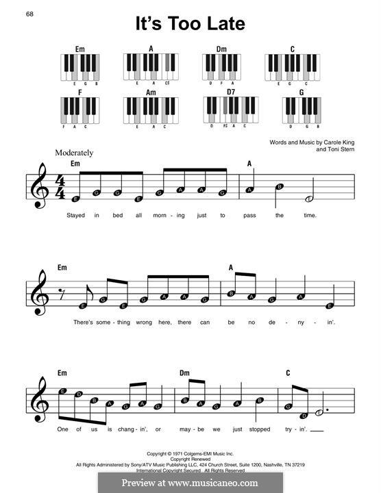 It's Too Late: Для фортепиано (легкий уровень) by Carole King