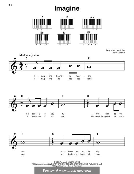 Imagine, for Piano: Easy version by John Lennon