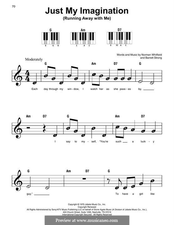 Just My Imagination (Running Away with Me): Для фортепиано (легкий уровень) by Barrett Strong, Norman J. Whitfield