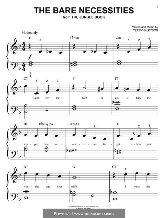 The Bare Necessities (from Disney's The Jungle Book): Для фортепиано (легкий уровень) by Terry Gilkyson
