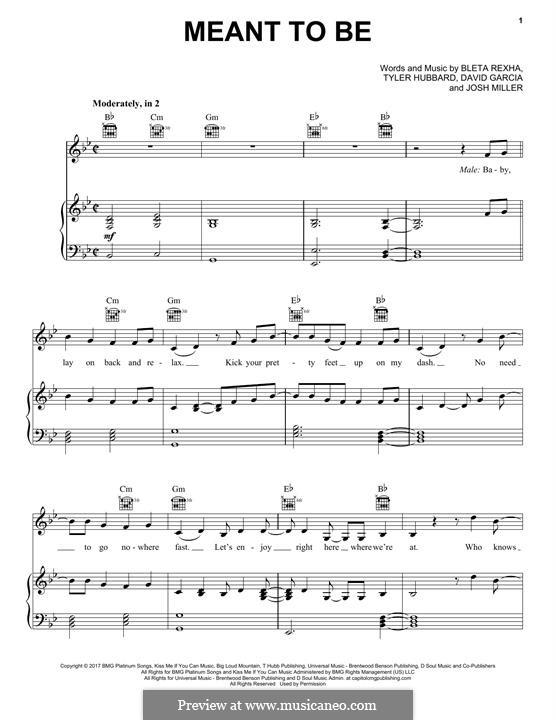 Meant To Be (Bebe Rexha feat. Florida Georgia Line): Для голоса и фортепиано (или гитары) by Joshua Miller, Tyler Hubbard, Bebe Rexha, David Garcia