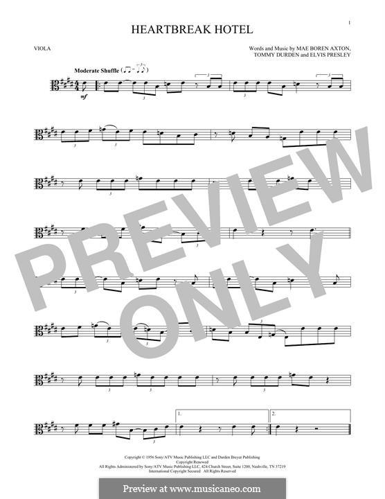 Heartbreak Hotel (Elvis Presley): For viola by Mae Boren Axton, Tommy Durden