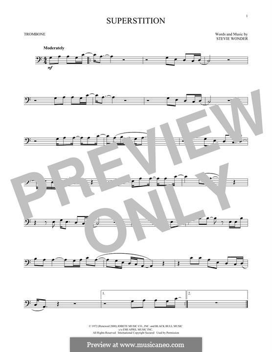 Superstition: For trombone by Stevie Wonder