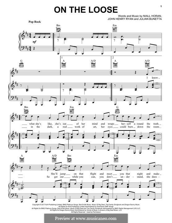 On the Loose: Для голоса и фортепиано (или гитары) by Julian Bunetta, Niall Horan, John Henry Ryan