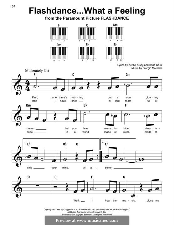 Flashdance (What a Feeling): Для фортепиано (легкий уровень) by Giorgio Moroder, Keith Forsey