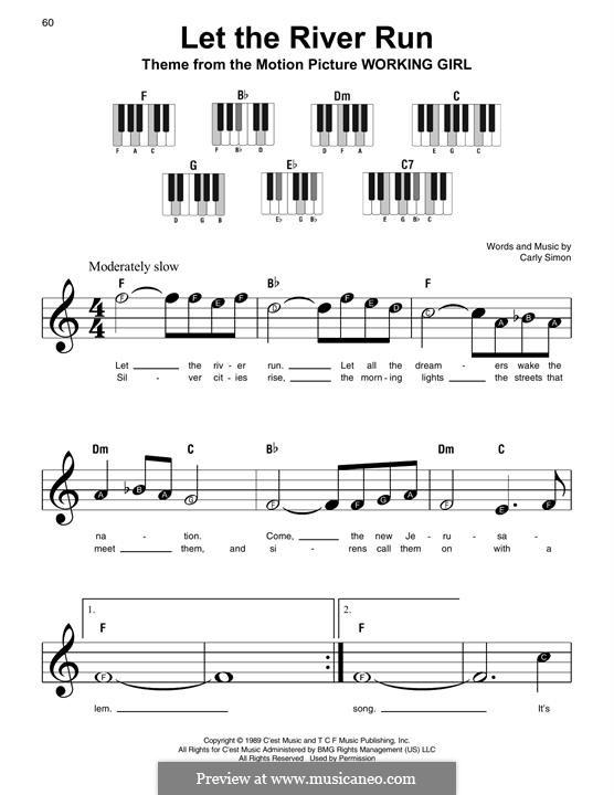 Let the River Run: Для фортепиано (легкий уровень) by Carly Simon