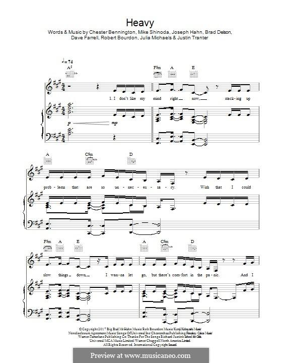 Heavy (Linkin Park): Для голоса и фортепиано (или гитары) by Brad Delson, Charles Bennington, David Farrell, Joseph Hahn, Mike Shinoda, Rob Bourdon, Julia Michaels, Justin Tranter