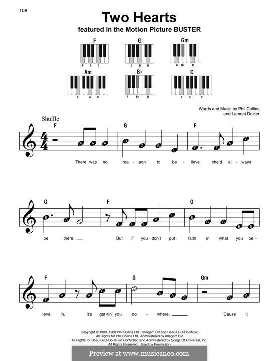 Two Hearts (Phil Collins): Для фортепиано (легкий уровень) by Lamont Dozier