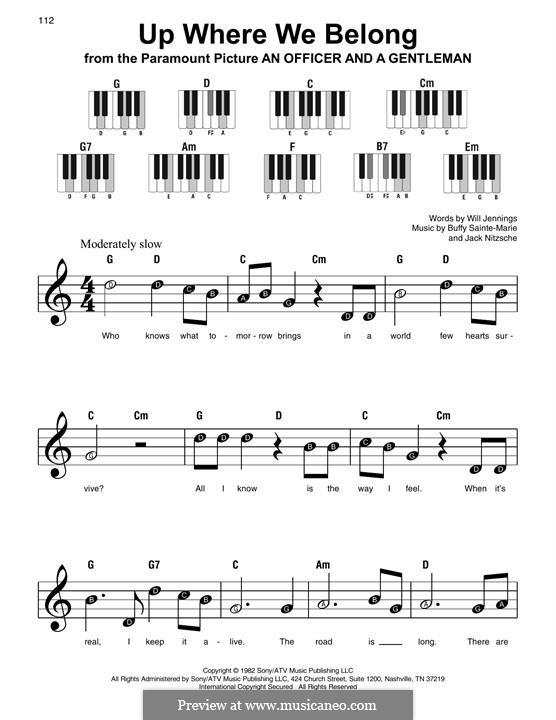 Up Where We Belong (Joe Cocker and Jennifer Warnes): Для фортепиано (легкий уровень) by Buffy Sainte-Marie, Jack Nitzsche, Will Jennings