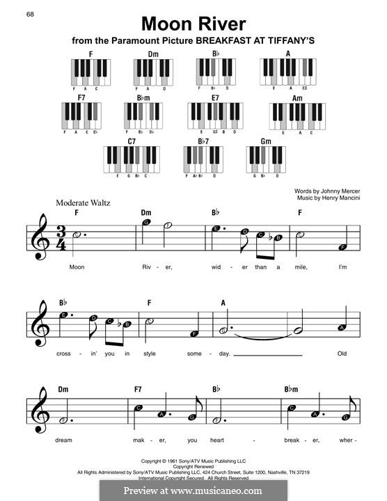 Moon River, for Piano: Easy version by Henry Mancini