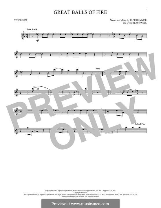 Great Balls of Fire (Jerry Lee Lewis): Для тенорового саксофона by Jack Hammer, Otis Blackwell