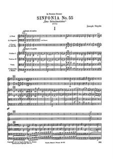 Симфония No.55 ми-бемоль мажор 'Школьный учитель', Hob.I/55: Партитура by Йозеф Гайдн
