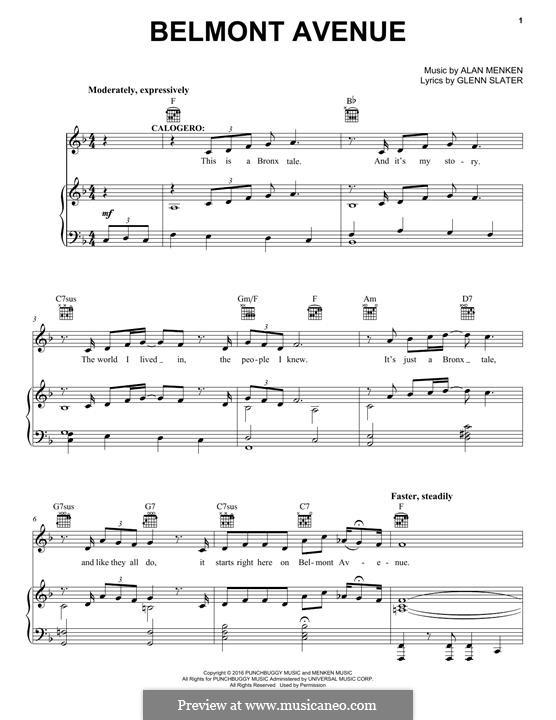 Belmont Avenue: Для голоса и фортепиано (или гитары) by Alan Menken