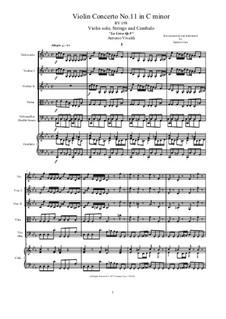 La Cetra (The Lyre). Twelve Violin Concertos, Op.9: No.11 Concerto in C Minor – score and all parts, RV 198 by Антонио Вивальди