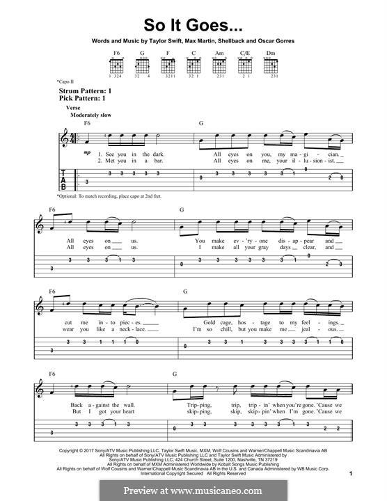 So It Goes...: Для гитары by Shellback, Max Martin, Taylor Swift, Oscar Gorres