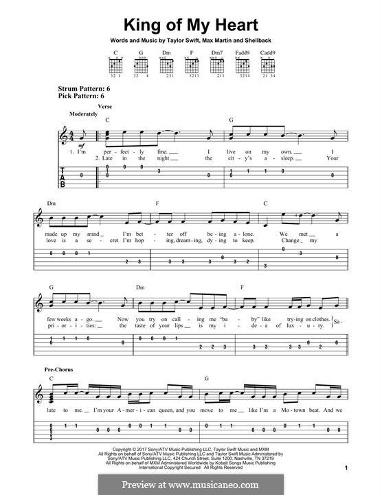 King of My Heart: Для гитары by Shellback, Max Martin, Taylor Swift